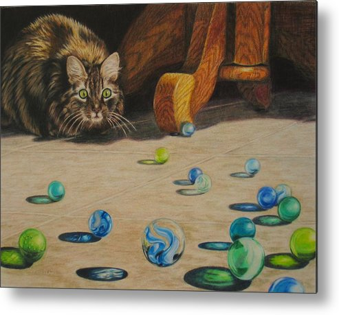 Cats Metal Print featuring the drawing Mighty Hunter by Karen Ilari