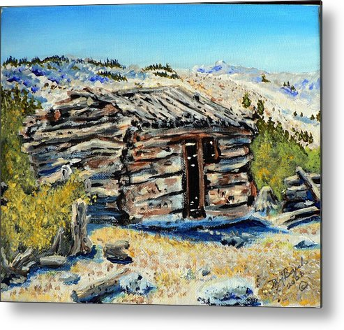 Mining Metal Print featuring the painting Miner's Cabin by Dan Bozich