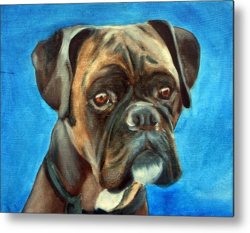 Boxer Dog Metal Print featuring the painting Moira by Fiona Jack