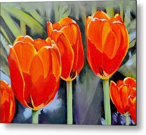 Tulip Metal Print featuring the painting Moment in the Sun 3 by Mary Chant