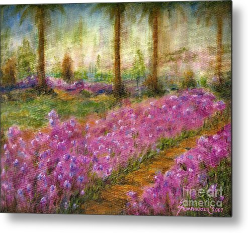 Monet Metal Print featuring the painting Monet's Garden in Cannes by Jerome Stumphauzer