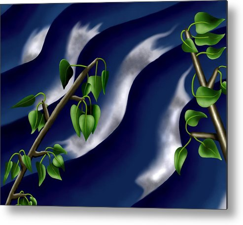 Surrealism Metal Print featuring the digital art Moon-glow I - Poplars Over Water At Night by Robert Morin