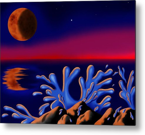 Surrealism Metal Print featuring the digital art Moon-glow II by Robert Morin