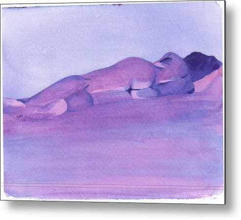 Nude Female Reclining Metal Print featuring the painting Morning by Ken Daugherty