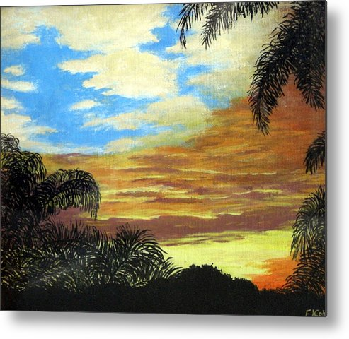 Sunrise-sunset Painting Metal Print featuring the painting Morning Sky by Frederic Kohli