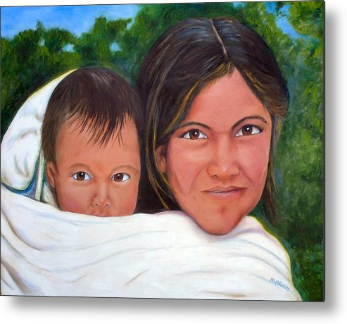 Portrait Metal Print featuring the painting Mother and Child by Merle Blair