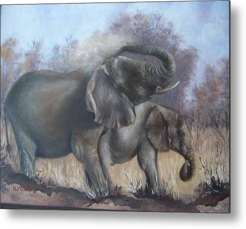 Elephants Metal Print featuring the painting Mother and child by Nellie Visser