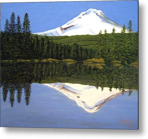 Landscape Paintings Metal Print featuring the painting Mount Hood-Trillium Lake by Frederic Kohli