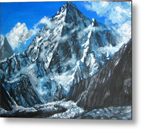 Mountains Metal Print featuring the painting Mountains view landscape acrylic painting by Natalja Picugina
