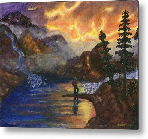 Mountains Metal Print featuring the painting Observation of Beauty by Tanna Lee M Wells