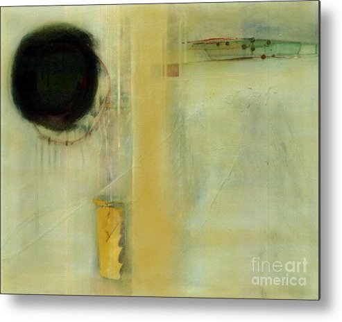 Abstract Metal Print featuring the painting Ochre Wash Jump by Marlene Burns