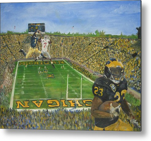 Michigan Metal Print featuring the painting Ohio State vs. Michigan 100th Game by Travis Day