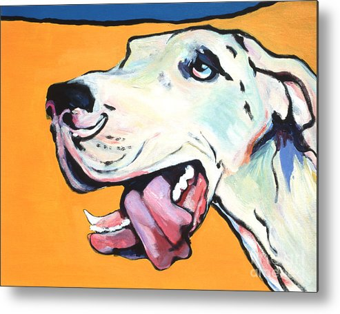 Commissioned Pet Portraits Available Metal Print featuring the painting Ol' Blue Eye by Pat Saunders-White