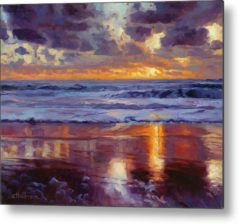 Ocean Metal Print featuring the painting On the Horizon by Steve Henderson