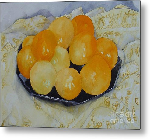 Still Life Watercolor Original Leilaatkinson Oranges Metal Print featuring the painting Oranges by Leila Atkinson