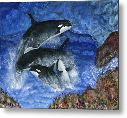 Killer Whales Metal Print featuring the painting Orcas Family Frolicks by Tanna Lee M Wells