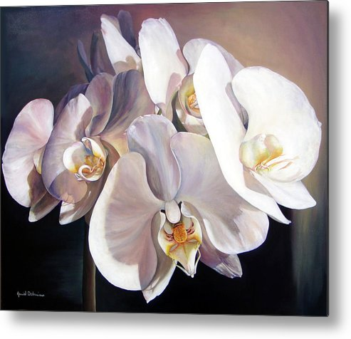 Floral Painting Metal Print featuring the painting Orchidee by Muriel Dolemieux
