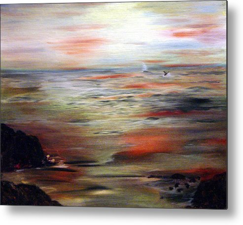 Seascape Metal Print featuring the painting Out to Sea by Julie Lamons