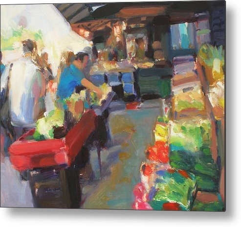 Outdoor Market Metal Print featuring the painting Outdoor Market by Merle Keller
