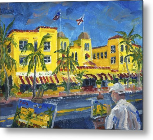 Atlantic Avenue Metal Print featuring the painting Painting on the Avenue by Ralph Papa