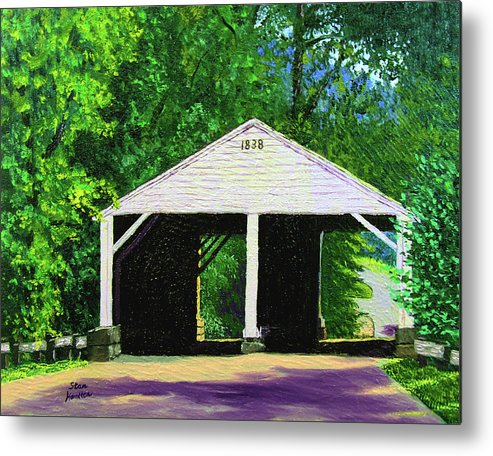 Covered Bridge Metal Print featuring the painting Park Covered Bridge by Stan Hamilton