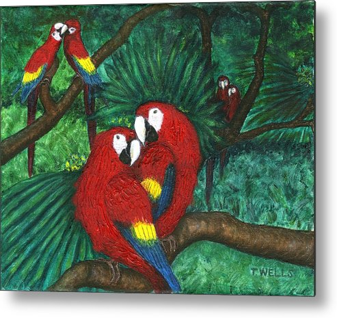 Parrots Metal Print featuring the painting Parrots Preening by Tanna Lee M Wells