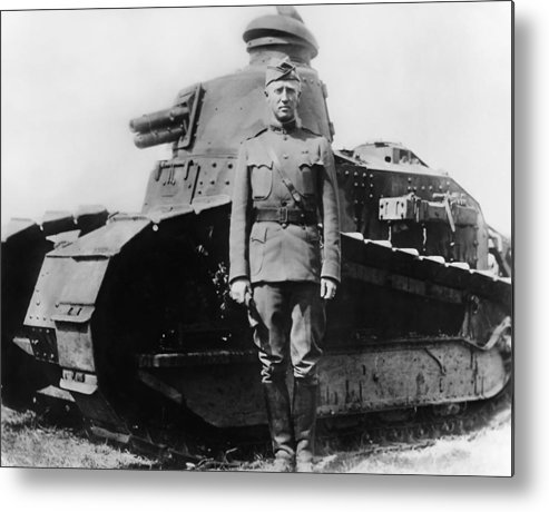 George Patton Metal Print featuring the photograph Patton Beside a Renault Tank - WWI by War Is Hell Store