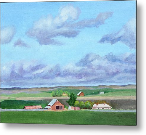 Landscape Metal Print featuring the painting Peace in the Valley by Mary Chant