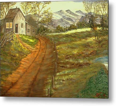 Landscape Metal Print featuring the painting Peaceful Country by Kenneth LePoidevin