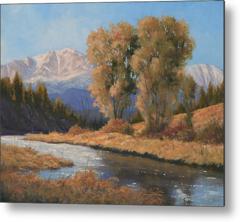 Pikes Peak Metal Print featuring the painting Pikes Peak and Cottonwoods 120418-1114 by Kenneth Shanika