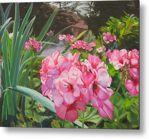 Pink Geraniums Metal Print featuring the painting Pink Geraniums by Lea Novak