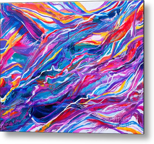 Filaments Lines Strokes Rushing Water Full Of Vibrant Color And Dynamic Movement Energy Contemporary Original Abstract Metal Print featuring the painting Playful stream by Priscilla Batzell Expressionist Art Studio Gallery