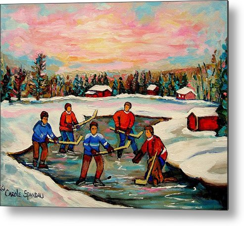 Montreal Metal Print featuring the painting Pond Hockey Countryscene by Carole Spandau