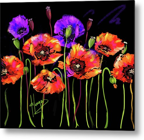 Poppy Metal Print featuring the painting Poppies by DC Langer