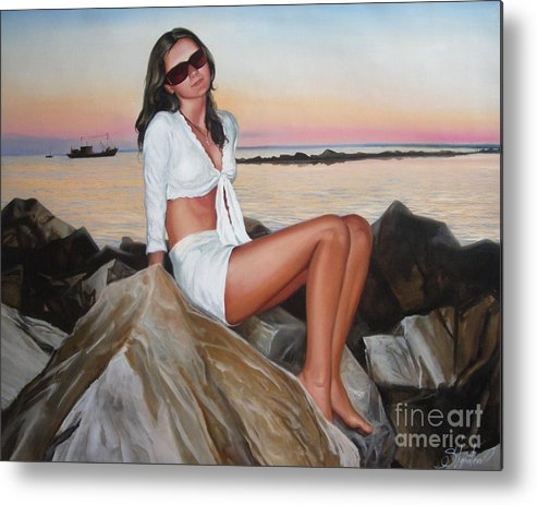 Art Metal Print featuring the painting Portrait by Sergey Ignatenko
