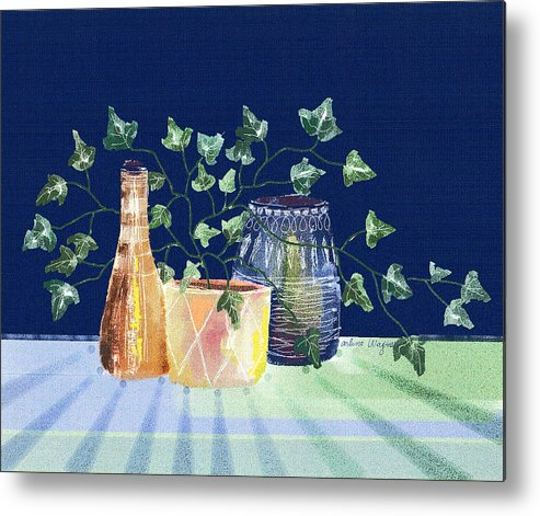Ivy Metal Print featuring the digital art Pots And Ivy on Plaid by Arline Wagner