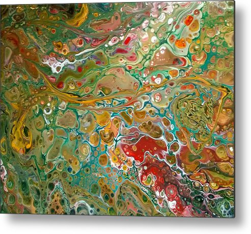 Pour Metal Print featuring the painting Pour10 by Valerie Josi
