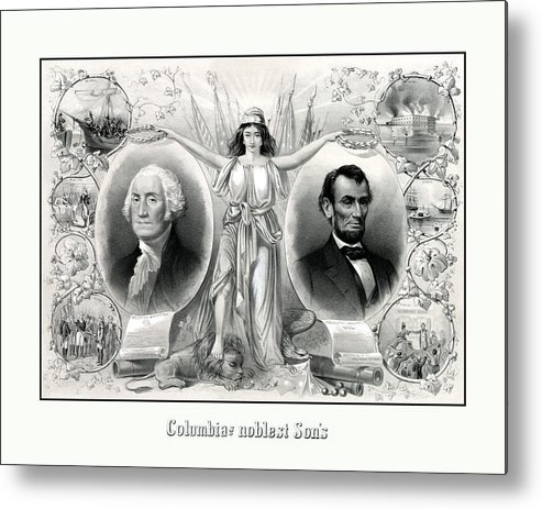 Abraham Lincoln Metal Print featuring the drawing Presidents Washington and Lincoln by War Is Hell Store