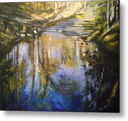 Puffers Pond Metal Print featuring the pastel Puffers Pond by Therese Legere