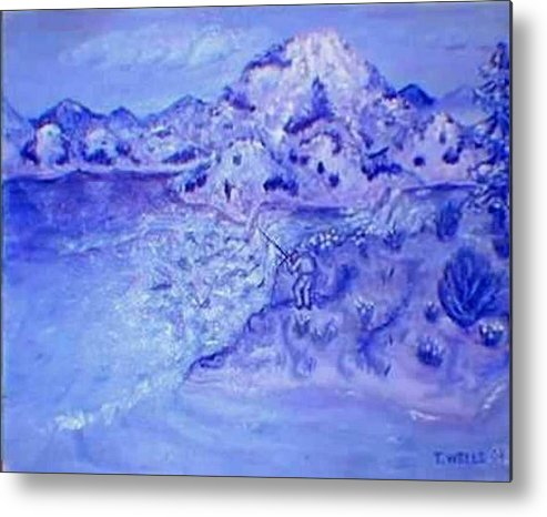 Monochromatic Purple Mountains Metal Print featuring the painting Purple Majesty by Tanna Lee M Wells