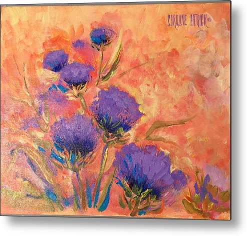 Thistles Metal Print featuring the painting Purple Thistles by Caroline Patrick