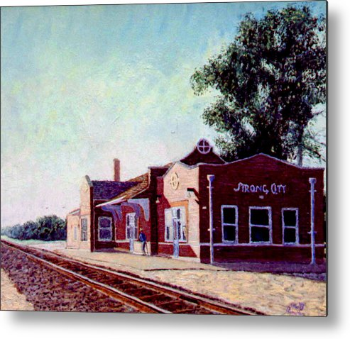 Original Oil On Wood Panel Metal Print featuring the painting Railroad Station by Stan Hamilton