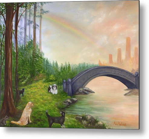 Pet Remembrance Metal Print featuring the painting Rainbow Bridge by Anne Kushnick