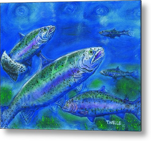 Rainbow Trout Metal Print featuring the painting Rainbow Trout Swimming by Tanna Lee M Wells