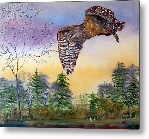 Hawk Metal Print featuring the painting Red Shouldered Hawk by Mikki Alhart