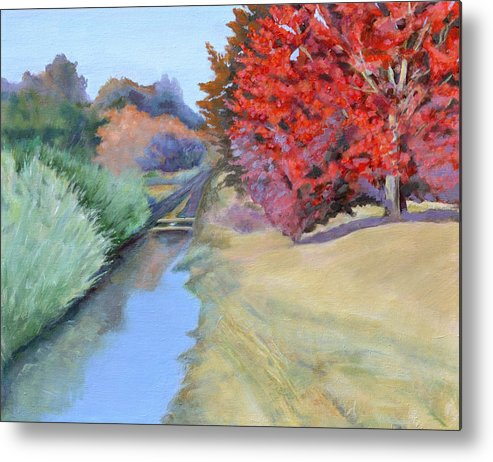 Landscape Metal Print featuring the painting Red Tree and River by Mary Chant