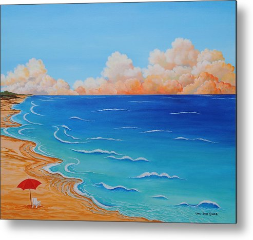 Ocean Metal Print featuring the painting Red Umbrella by Carol Sabo