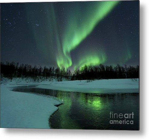 Green Metal Print featuring the photograph Reflected Aurora Over A Frozen Laksa by Arild Heitmann
