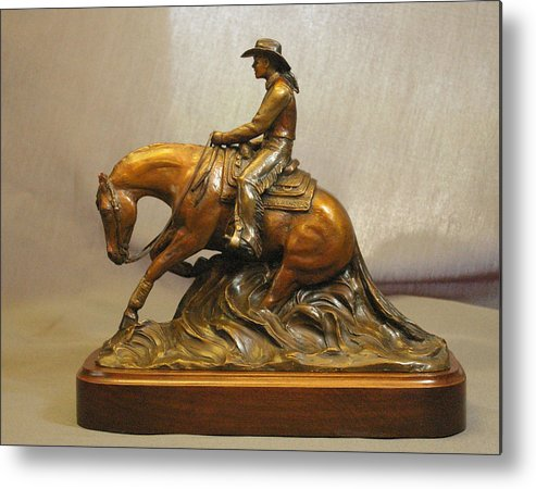 Reining horse and Lady rider bronze sculpture by Kim Corpany