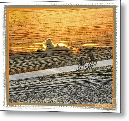 Beach Metal Print featuring the digital art Riding off into the Sunset by Chuck Brittenham